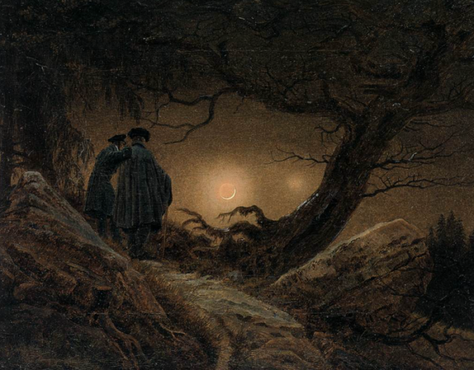 Two Men Contemplating the Moon, 1819-20